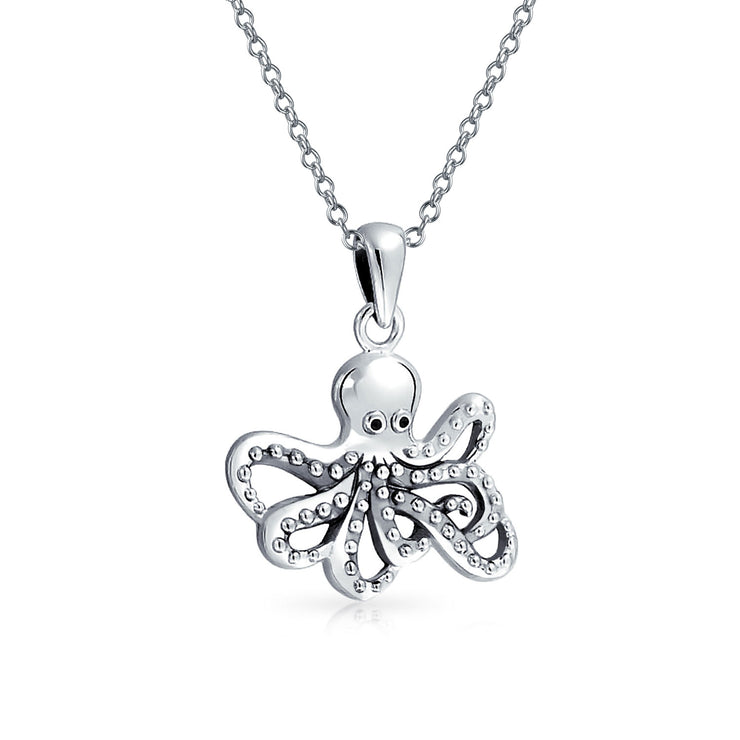Nautical Octopus Squid Necklace Pendant For Men 925 Sterling Silver