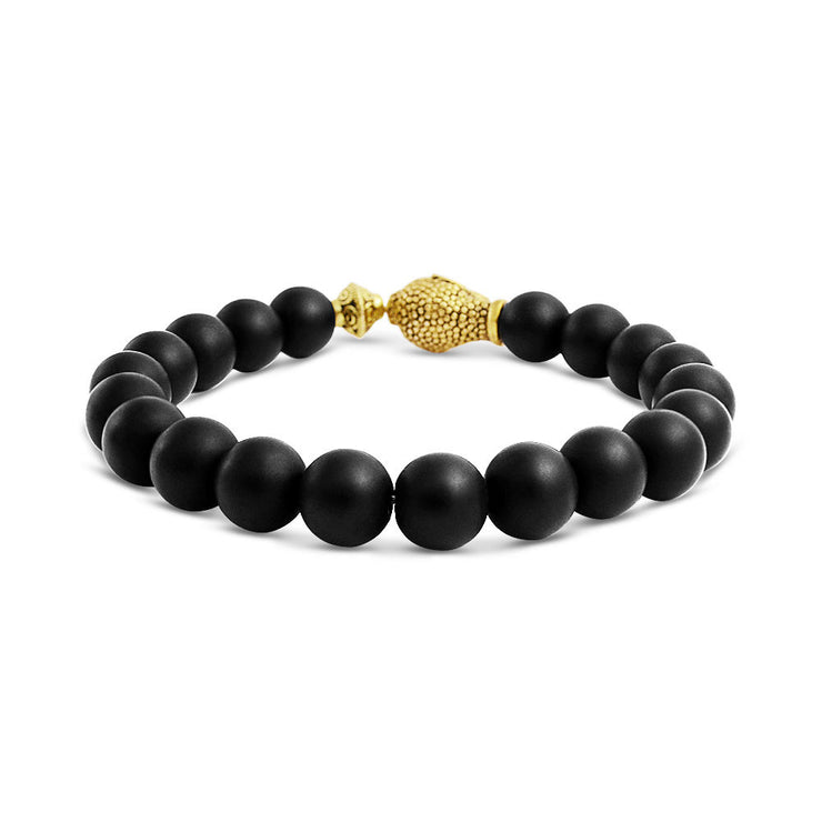 Buddha Black Onyx Round Bead Strand Stretch Beads Bracelet Gold Plated