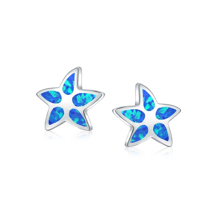 Blue Created Opal Inlay Starfish Stud Earrings Sterling Silver