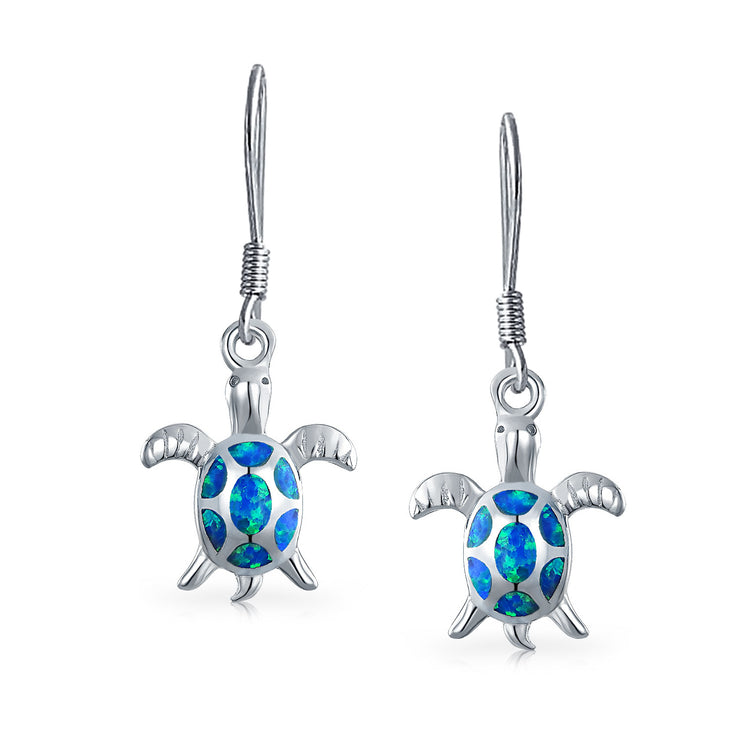 Blue Oval Created Opal Turtle Dangle Drop Earrings Sterling Silver