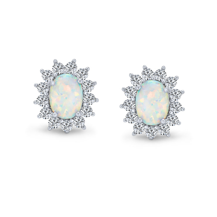Oval Created White Opal Crown Halo CZ Stud Earrings Sterling Silver