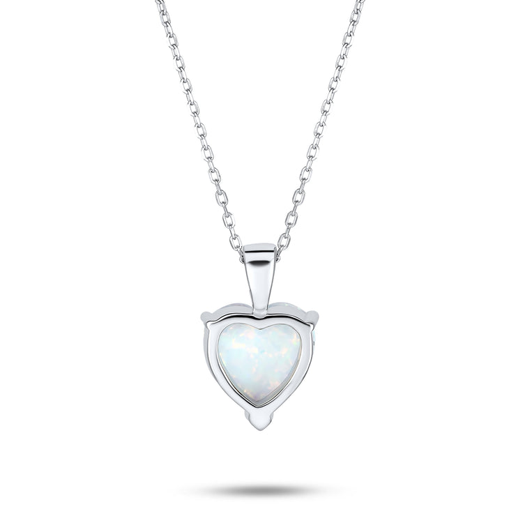 1CT Solitaire Heart Created Opal Pendant Necklace Sterling Silver