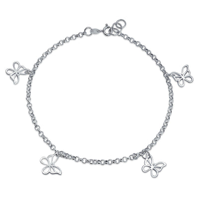 Multi Butterfly Anklet Dangle Charm Ankle Bracelet 925 Sterling Silver