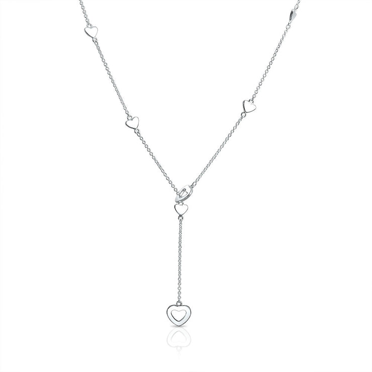Open Heart Lariat Pendant Y Necklace 925 Sterling Silver 17 Inch