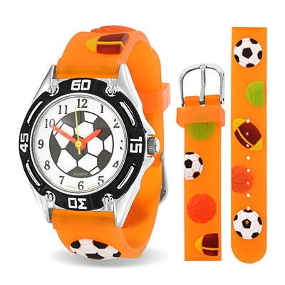 All Star Sport Soccer Watch Quartz 3D Orange Silicone