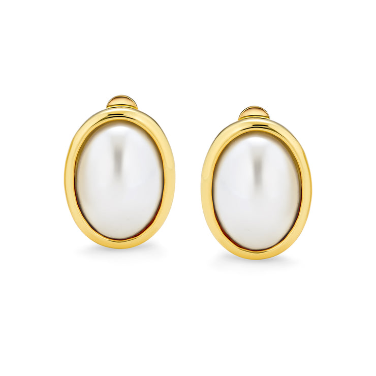 Oval Clip On White Imitation Pearl Earrings Cabochon Gold Plated