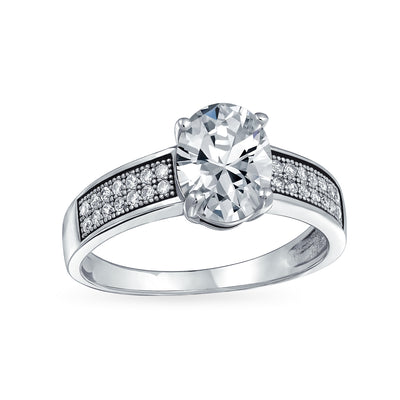 2CT Oval Solitaire AAA CZ Engagement Ring Band 925 Sterling Silver