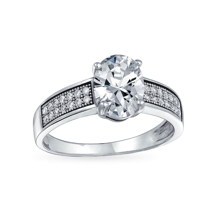 Personalized 3CT 925 Sterling Silver AAA CZ Oval Solitaire Engagement Ring Band