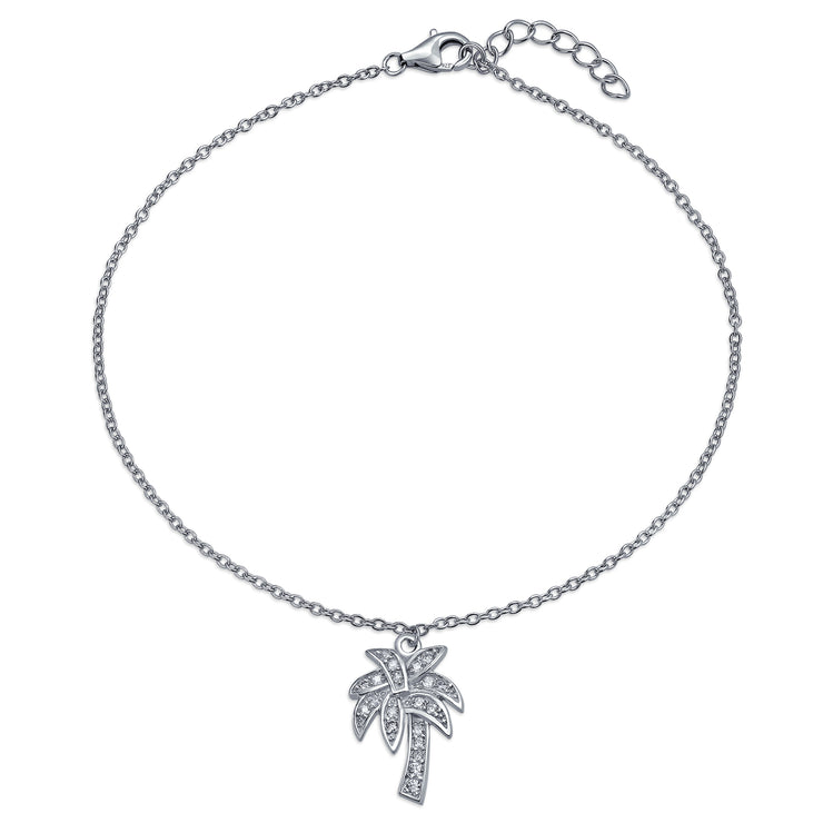 Tropical Palm Tree Pave CZ Dangle Charm Anklet 925 Sterling Silver