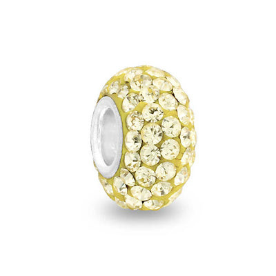 Solid Pale Yellow Crystal Bead Charm Spacer 925 Sterling Silver