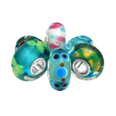 Aqua Blue Green Murano Glass Bead Charm Bundle Set 925 Sterling Silver