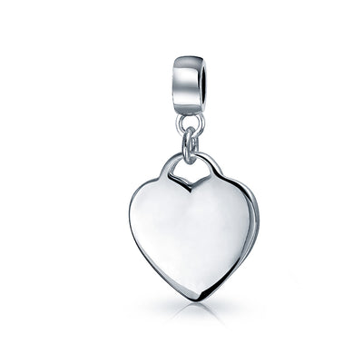Heart Shape Tag Charm Engravable Dangle Charm Bead For Women