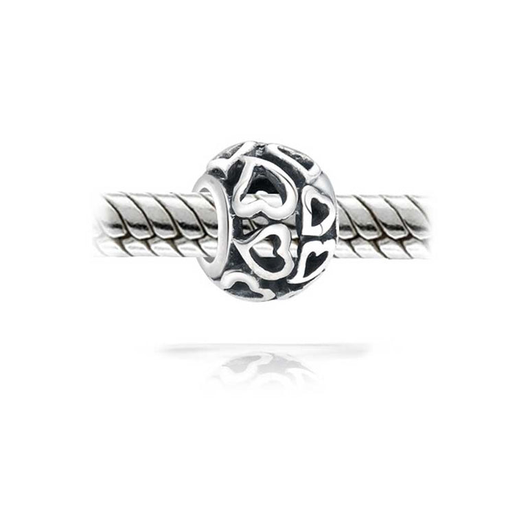 Filigree Round Barrel Open Hearts Charm Bead 925 Sterling Silver