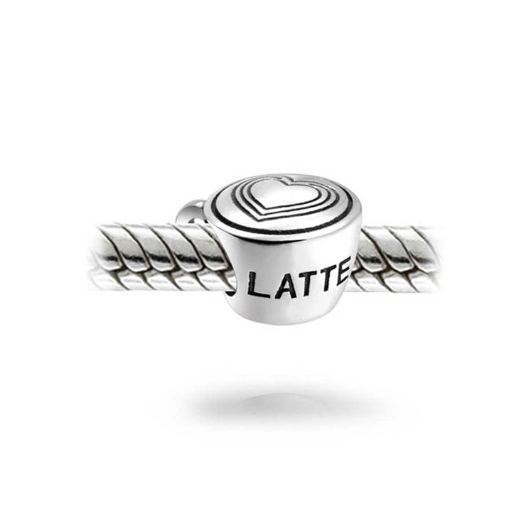 Coffee Lover Cup Latte Art Charm Bead 925 Sterling Silver