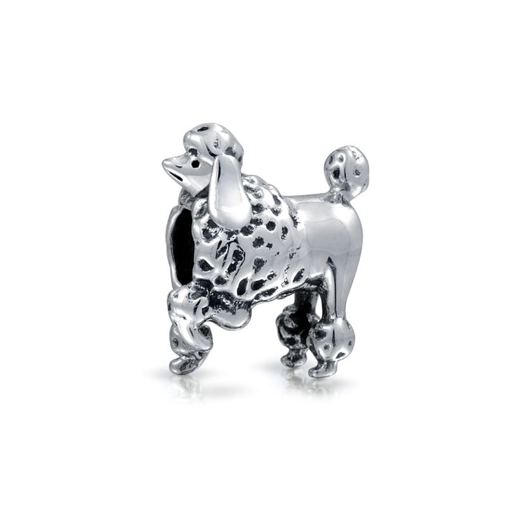 Poodle Show Dog Puppy Pet Lover Bead Charm 925 Sterling Silver