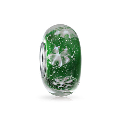 Holiday Green Snowflake Murano Glass Bead Charm 925 Sterling Silver