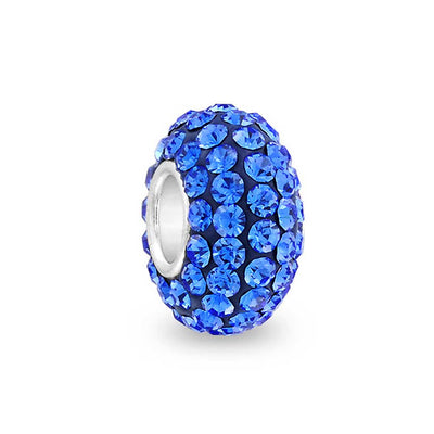 Solid Royal Blue Crystal Bead Charm Spacer 925 Sterling Silver