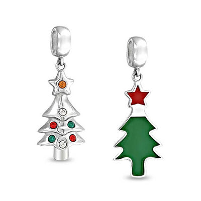 Green Christmas Tree Red CZ Dangle Charm Bead 925 Sterling Silver