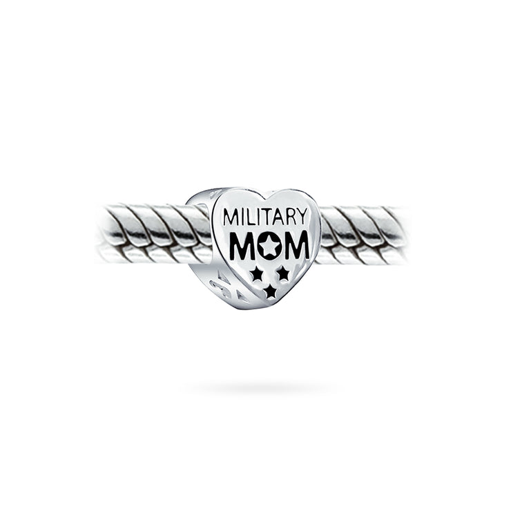 Patriotic Military Mom USA Flag Charm Bead 925 Sterling Silver