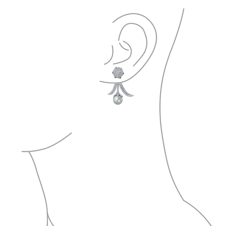 Bridal Leaf Pave CZ Ear Jacket White Simulated  Simulated Pearl Earrings Silver Plated