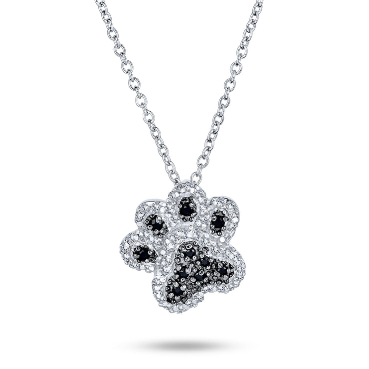 Dog Cat Puppy Paw Print BFF Pet Pendant Necklace Black Sterling Silver