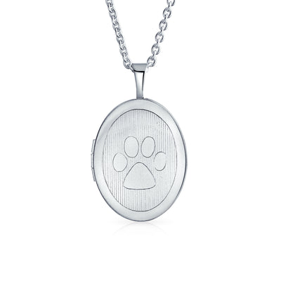 Dog Paw Print Pet Jewelry Oval Locket Necklace That Holds Pictures