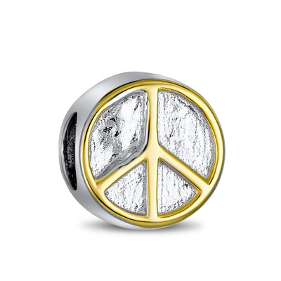 Two Tone World Peace Sign Bead Charm Gold Plated .925 Sterling Silver