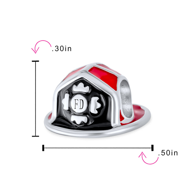 Red Fireman Department Firefighter Hat Helmet Charm Bead 925 Silver