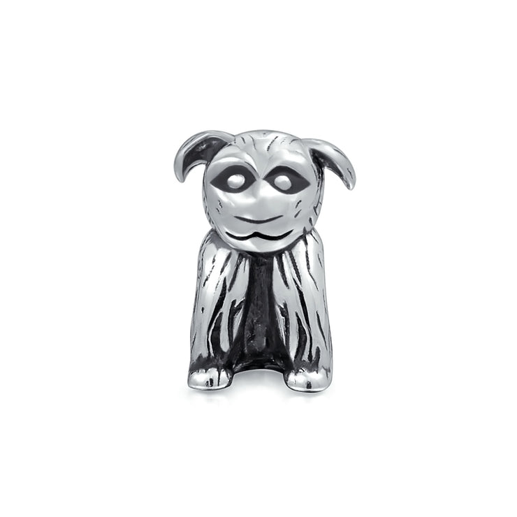 Rescue Dog Mutt Puppy Animal Charm Bead .925 Sterling Silver