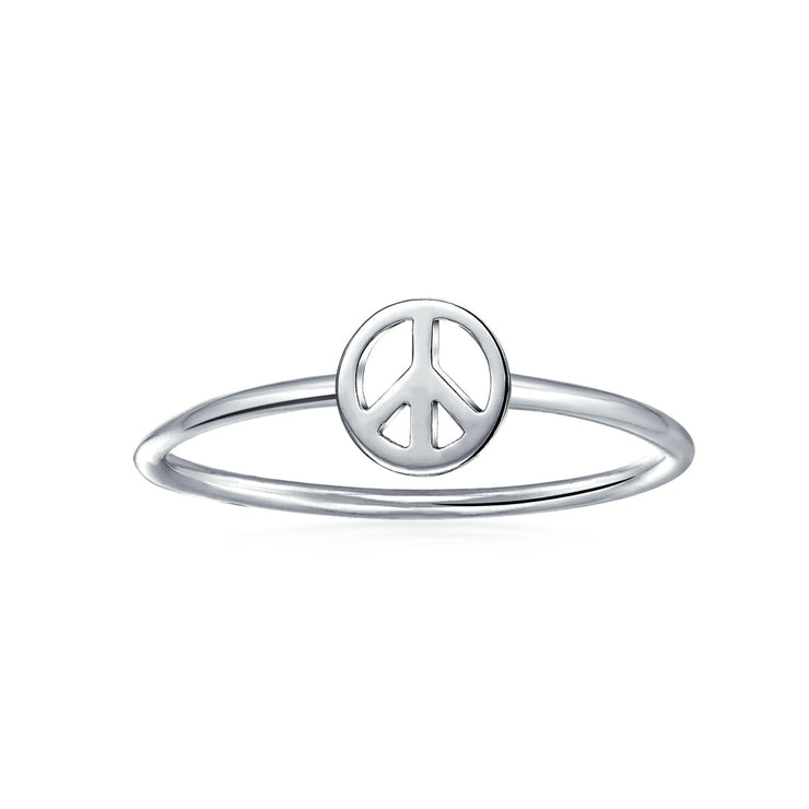 925 Sterling Silver Midi Knuckle 1MM Band Stackable Peace Sign Ring