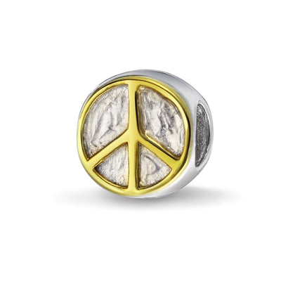 Two Tone World Peace Sign Bead Charm 14K Gold Plated Sterling Silver