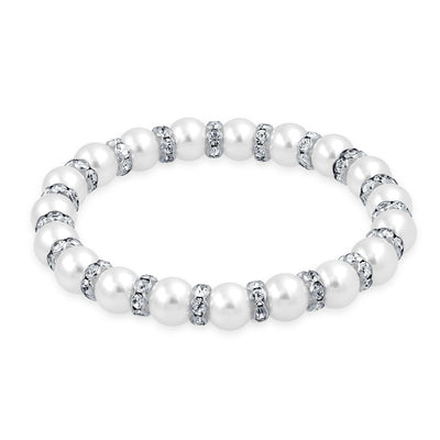 White Strand Stretch Bracelet White Crystal Rondelle Silver Plated