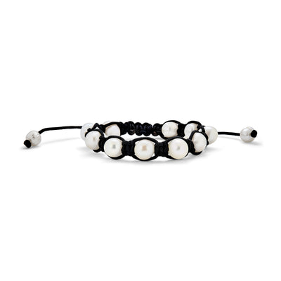 Baroque Freshwater Cultured Pearl Shamballa Bracelet Black Cord String