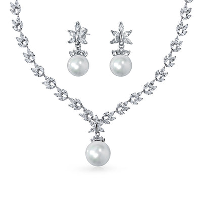 Bridal Set Leaf Solitaire Necklace Earrings Pearl Rhodium Plated 10MM