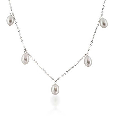 White Teardrop Freshwater Cultured Chain Sterling Silver Necklace