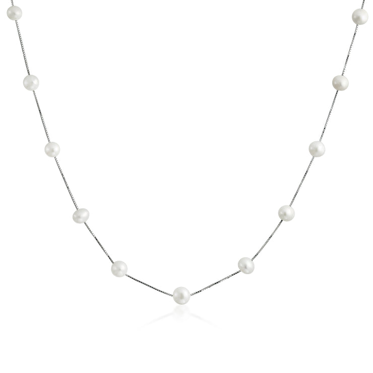 Freshwater Cultured Pearl Tin Cup Chain Sterling Silver Necklace