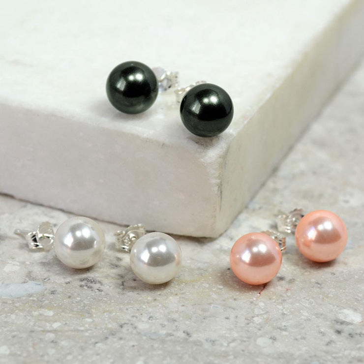 Set OF 3 White Black Pink Imitation Pearl Earrings Sterling Silver 8MM