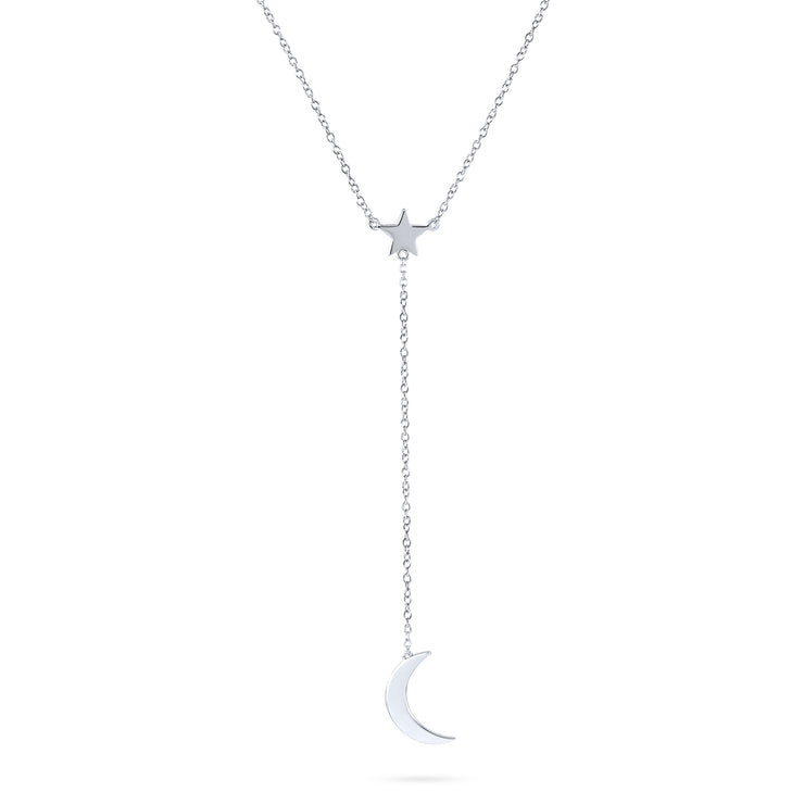 Celestial Crescent Moon Star Lariat Pendant Y Necklace Sterling Silver