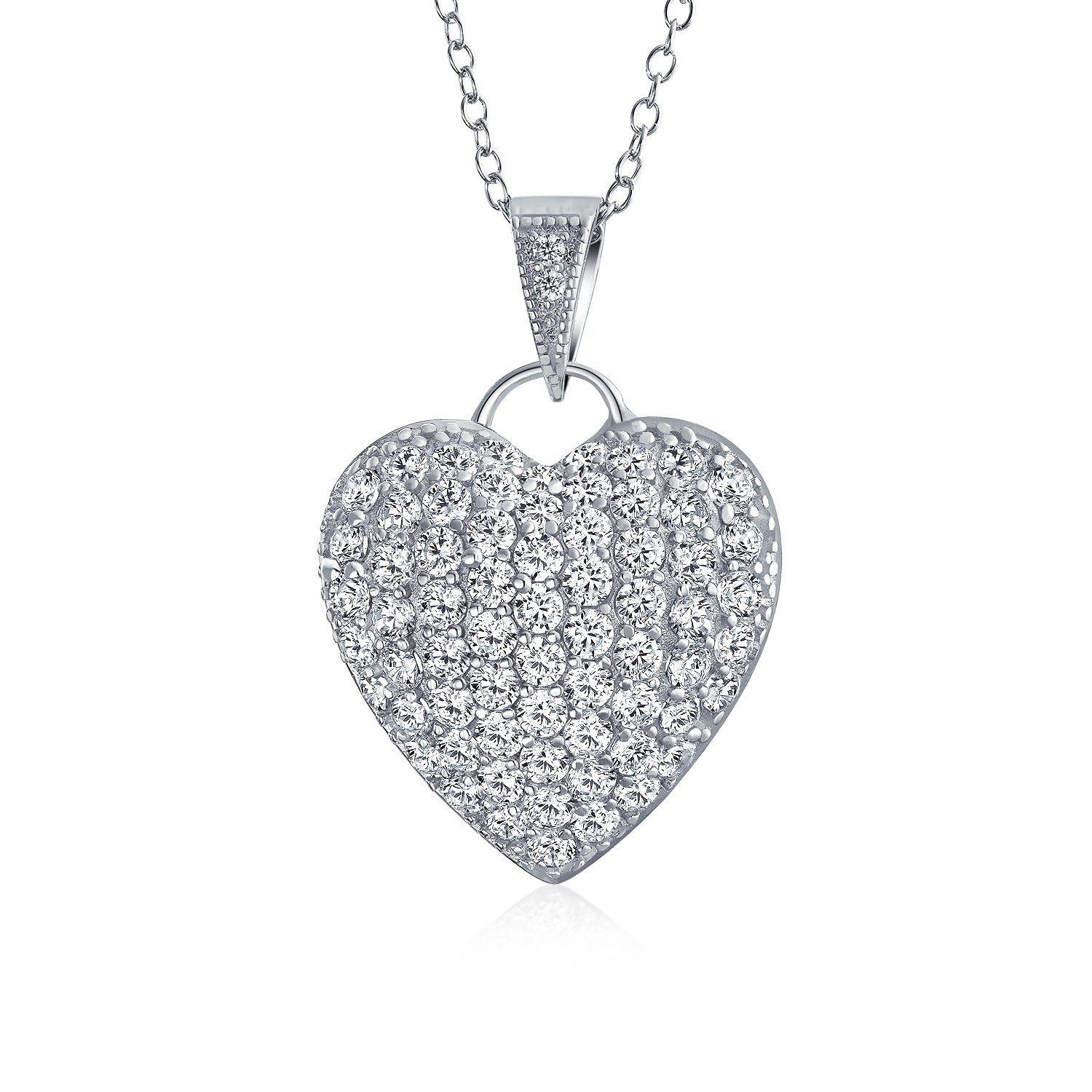 Valentines Day Wide Puffed Out Heart Necklace Sterling Silver Simulated Diamonds