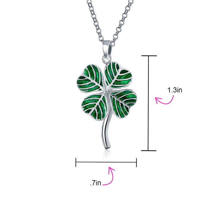 Shamrock Clover Pendant Necklace with Green Cubic Zirconia in Sterling Silver