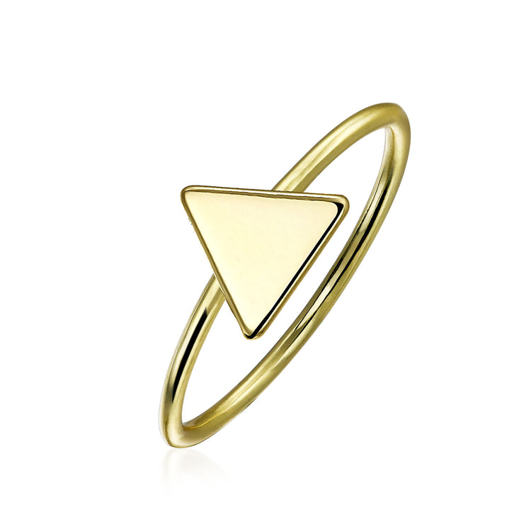 Midi Knuckle 1MM Band Flat Triangle Ring Gold Plated Sterling Silver