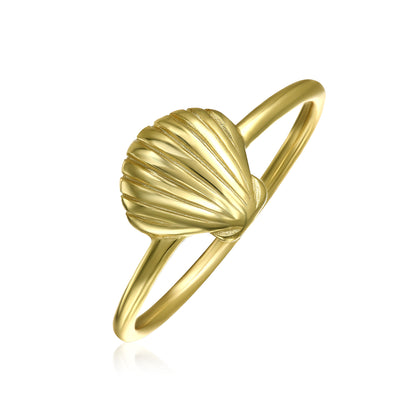 Midi Knuckle 1MM Band Nautical Seashell Ring Gold Plated Silver