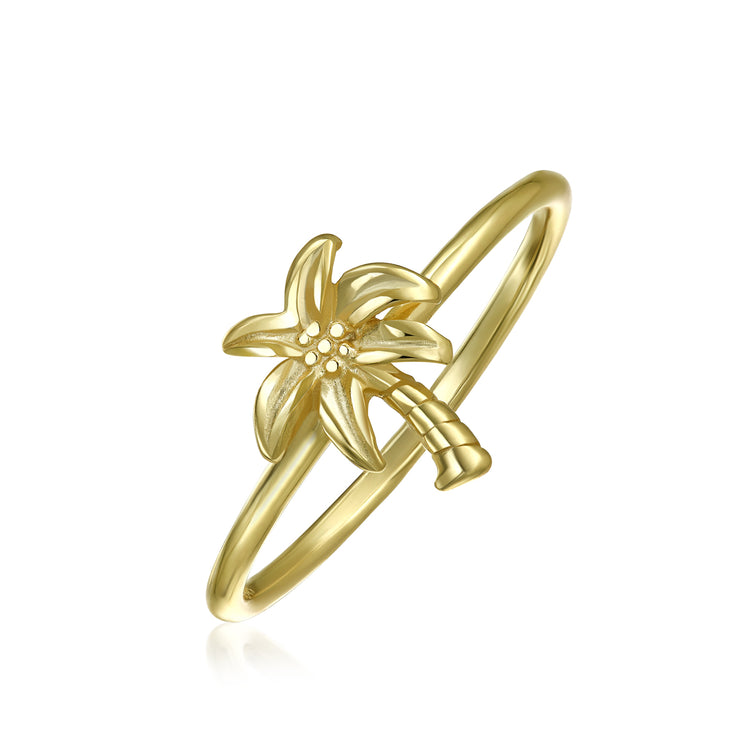 Midi Knuckle 1MM Band Palm Tree Ring Gold Plated Sterling Silver