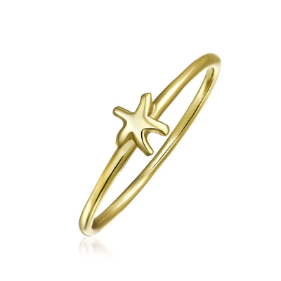 Midi Knuckle 1MM Band Starfish Ring Gold Plated Sterling Silver