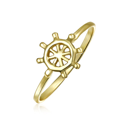 Midi Knuckle 1MM Band Wheel Boat Ring Gold Plated Sterling Silver