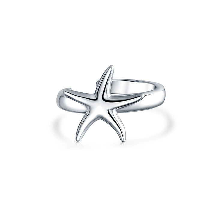 Starfish Cartilage Ear Cuffs Clip Wrap Helix Earrings Sterling Silver