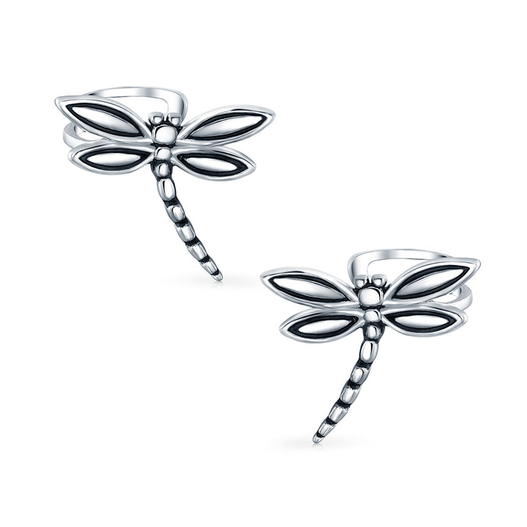 Butterfly Dragonfly Cartilage Ear Cuffs Earrings 925 Sterling Silver