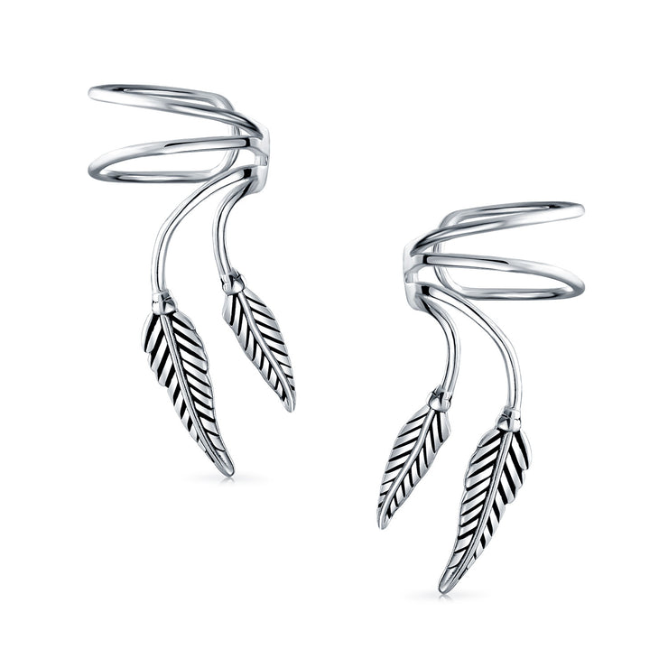 2 Leaf Feather Cartilage Ear Cuffs Wrap Earrings Ear Sterling Silver