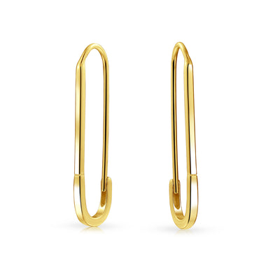 Pin Support Refugees Threader Earrings 14K Gold Plated Sterling Silver