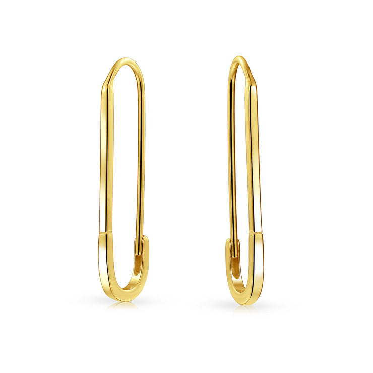Pin Support Refugees Threader Earrings Gold Plated Sterling Silver